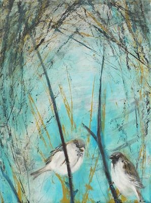 Sparrows in thicket