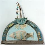 A Sea Song From The Shore by Shirley Vauvelle, Sculpture, Ceramic driftwood,vintage bread board and vintage map