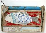 Big Fish of Robin Hoods Bay by Shirley Vauvelle, Ceramics, Earthenware, driftwood,vintage map