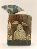 Big bird with pear by Shirley Vauvelle, Sculpture, Earthernware, driftwood, goldleaf