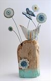 Bird and Butterfly by Shirley Vauvelle, Sculpture, Earthenware and driftwood