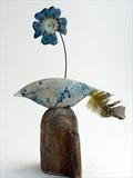Bird and Flower by Shirley Vauvelle, Sculpture, Ceramic and Driftwood