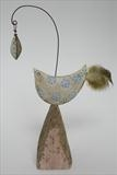 Bird and leaf by Shirley Vauvelle, Sculpture, earthenware and driftwood