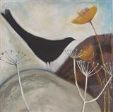 Blackbird and ploughed field by Shirley Vauvelle, Painting, Acrylic on canvas