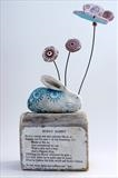 Bunny Rabbit by Shirley Vauvelle, Sculpture, Earthenware driftwood and vintage text