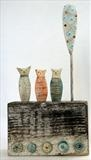 Cambridge Cats by Shirley Vauvelle, Sculpture, Earthenware,driftwood ,vintage map