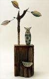Cat Contemplating Where Little Bird Went by Shirley Vauvelle, Sculpture, Earthenware Driftwood