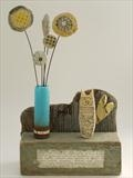 Cat and Vase by Shirley Vauvelle, Sculpture, earternware,drftwood,beach found treasure.