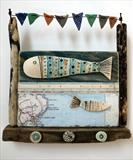 Celebrating Robin Hoods Bay by Shirley Vauvelle, Ceramics, Earthenware,driftwood,vintage map
