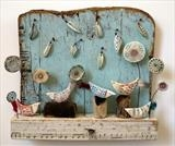 Chattering Birds of Birdsall Brow by Shirley Vauvelle, Sculpture, Earthenware. driftwood,vintage map