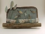 Chattering Little Woodland Birds by Shirley Vauvelle, Sculpture, Eartheware driftwood