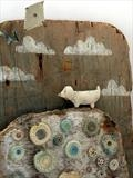 Cloud Nine by Shirley Vauvelle, Sculpture, Earthenware, driftwood and wave worn materials