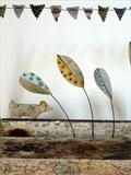 Dashund Celebrating by Shirley Vauvelle, Ceramics, earthernware,driftwood and recycled fabric