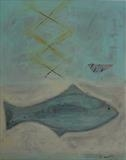 Fish and plover by Shirley Vauvelle, Painting, Acrylic on canvas