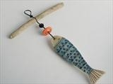 Fishy by Shirley Vauvelle, Ceramics, earthernware,driftwood,vintage buttons