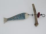 Fishy by Shirley Vauvelle, Sculpture, Ceramic Driftwood Vintage buttons