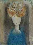 Flower Head Girl by Shirley Vauvelle, Painting, Acrylic on canvas