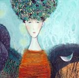 Flower Head Waiting in the Valley by Shirley Vauvelle, Painting, Acrylic on canvas