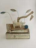 Great Outdoors by Shirley Vauvelle, Sculpture, earthenware,driftwood,vintage map