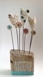 Hearts and Flowers by Shirley Vauvelle, Sculpture, Ceramic driftwood and vintage text