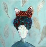 Hen Flower Head by Shirley Vauvelle, Painting, Acrylic on canvas
