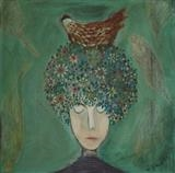 Hen Flower Head ii by Shirley Vauvelle, Painting, Acrylic on canvas