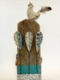 Hen on High by Shirley Vauvelle, Sculpture, Earthernware, drftwood and vintage map