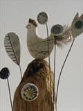 Hen on high by Shirley Vauvelle, Ceramics, driftwood