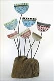 Jazz Meadow by Shirley Vauvelle, Sculpture, Earthenware and driftwood