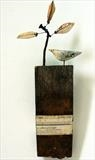 Little Bird & Little Tree by Shirley Vauvelle, Sculpture, earthenware,oak from a reclaimed whiskey barrel, vintage map, reclaimed nail