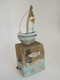 Little Boat Afloat by Shirley Vauvelle, Sculpture, Earthernware,driftwood,recycled fabric