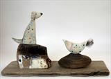 Little Dog & Bird by Shirley Vauvelle, Sculpture, earthenware & driftwood