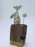 Little Hare Balancing Bird by Shirley Vauvelle, Sculpture, Earthenware. driftwood