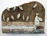 Little Mouse Balancing Birdie by Shirley Vauvelle, Sculpture, Earthenware. driftwood,vintage map