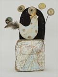 Little hen by Shirley Vauvelle, Sculpture, ceramic driftwood and vintage map