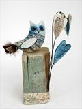 Little owl and three hearts by Shirley Vauvelle, Ceramics, earthenware , driftwood and vintage map