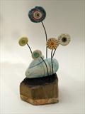 Little rabbit among flowers by Shirley Vauvelle, Sculpture, Earhernware and dritwood