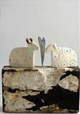 Love on a Mountain Top by Shirley Vauvelle, Sculpture, Earthenware and reclaimed boat timber