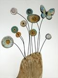 Nodding Flowers and Butterfly by Shirley Vauvelle, Sculpture, earthenware and driftwood