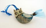Owl by Shirley Vauvelle, Ceramics, Earthenware,satin ribbon,feathers