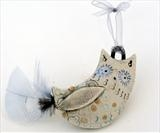 Owl by Shirley Vauvelle, Ceramics, Earthenware,organza ribbon,feathers