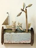Owl & Pussy Cat Ready For The Ocean by Shirley Vauvelle, Sculpture, Earthenware. driftwood,vintage map1