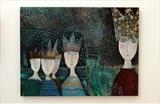 Paper Hats by Shirley Vauvelle, Painting, Acrylic on canvas