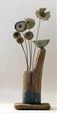 Perched Little Bird by Shirley Vauvelle, Sculpture, Earthenware and driftwood
