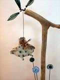 Piggy can fly by Shirley Vauvelle, Sculpture, Earthenware & driftwood