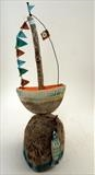 Sailing Boat & Fish by Shirley Vauvelle, Sculpture, Eathenware driftwood & wave worn canvas