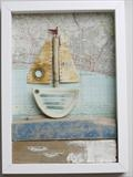 Sailing past Brighton by Shirley Vauvelle, Ceramics, Earthenware,vintage map and driftwood