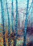 Saplings & Beech by Shirley Vauvelle, Painting, Acrylic on canvas