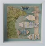 Shoal of Bridlington Bay by Shirley Vauvelle, Ceramics, Ceramic driftwood and vintage map