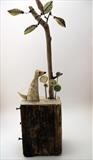 Sitting Dog Thinking by Shirley Vauvelle, Sculpture, Earthenware Driftwood Vintage Map